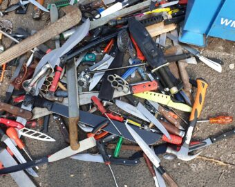 Knuckle dusters, bullets, knives and a bayonet seized from regions weapon surrender bins